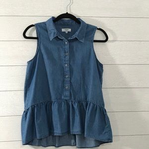 KENSIE JEANS Blue Sleeveless Shirt Size Small